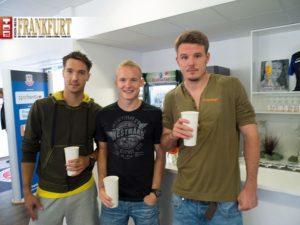 Die verletzten Eintrachtspieler Srdjan Lakic, Sebastian Rode und Alex Meier