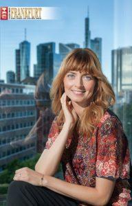 Eva Padberg in der Skylounge des Roomers Design Hotel Frankfurt