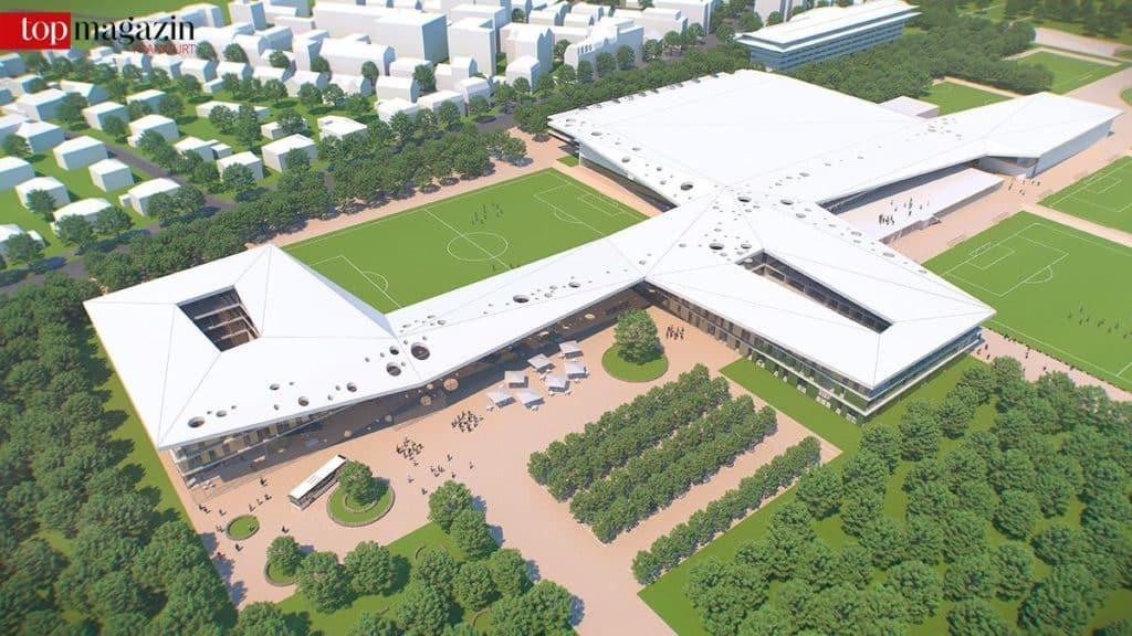 Der Fußball im Mittelpunkt - Der Gewinnerentwurf der DFB-Akademie überzeugte mit einer gelungenen Verknüpfung von Sportfeldern mit dem Gebäude.