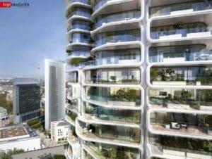 Die Fassade des Tower 2 besteht aus gläsernen Waben