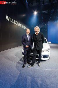 BMW Frankfurt-Niederlassungsleiter Uwe Holzer mit Thomas Gottschalk