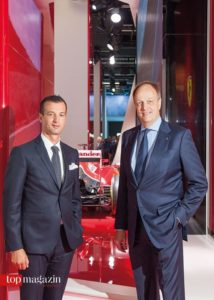 Ferrari Central East Europe-Chef Jean-Philippe Leloup mit Ferrari Frankfurt-Inhaber Frank Ulrich