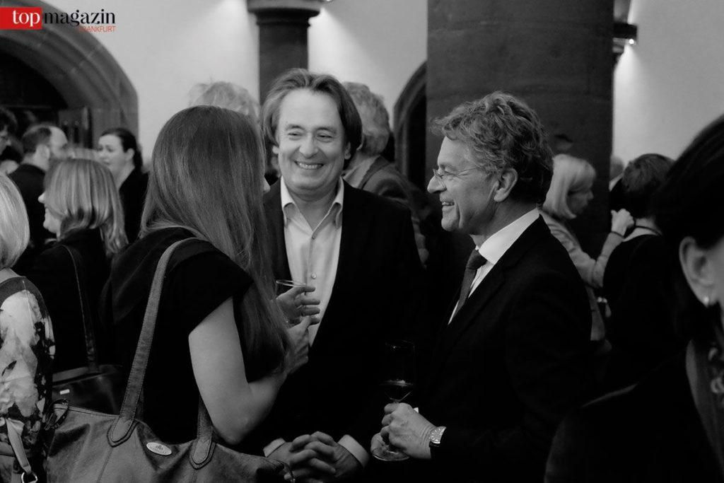 Franziska Junge im Gespräch mit Buchpreis Moderator Gerd Scobel und dem Hauptgeschäftsführer des Börsenvereins, Alexander Skipis
