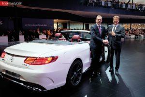 Mercedes-Benz-Vertriebsdirektor Rhein-Main Burkard Wagner mit Moderator Jörg Bombach vor dem neuen S63 AMG Cabrio