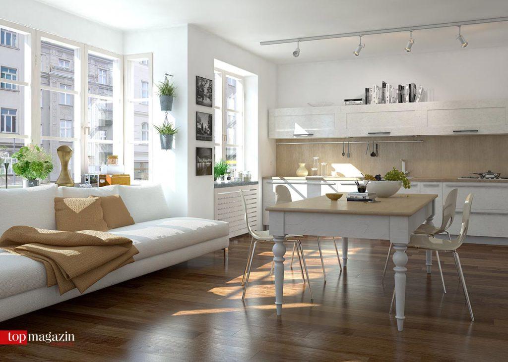 Durch die Verkleinerung des Raumes gehen Küche und Wohnzimmer zunehmend ineinander über.