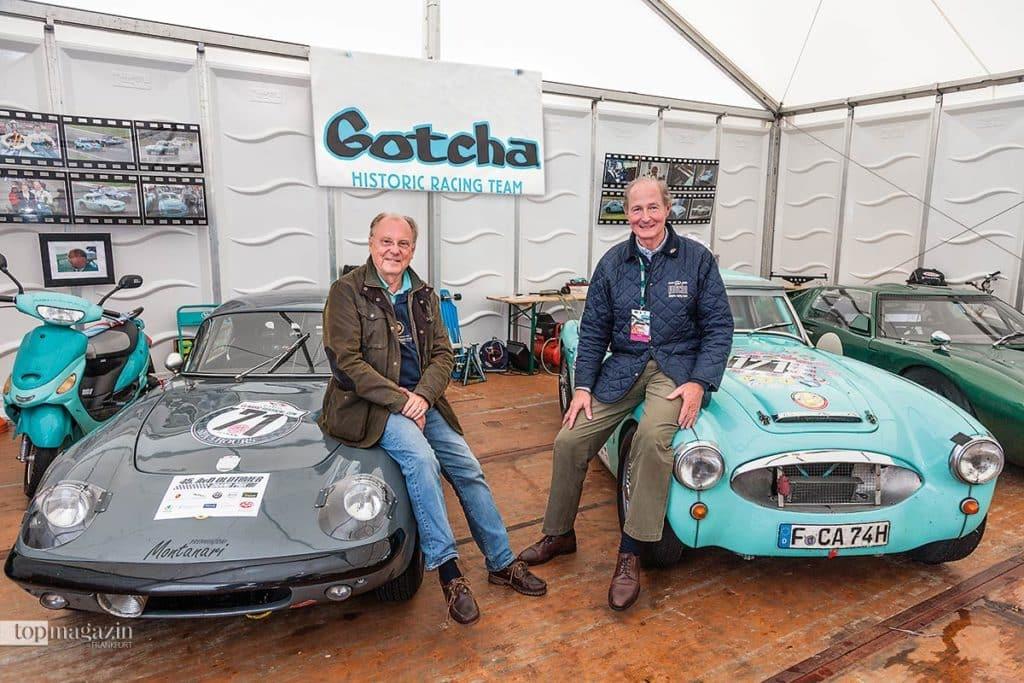 Gotcha Historic Racing Team - der Lotus Elan S2 und Christian Graf von Wedel sowie Franz Graf zu Ortenburg mit dem Austin Healey 3000