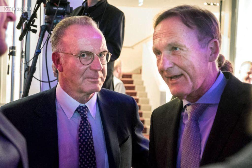 FC Bayern-Vorstandsvorsitzender Karl-Heinz Rummenigge mit BVB-Chef Hans-Joachim Watzke