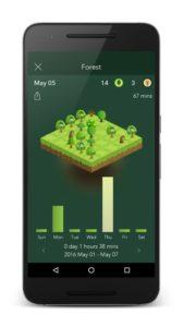 Die App 'Forest' lässt als Belohnung für Produktivität Bäume wachsen.