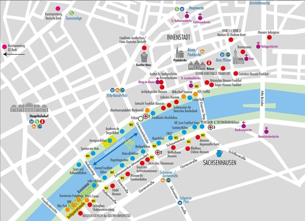 Lageplan Bühnen und Museen beim Museumuferfest 2018