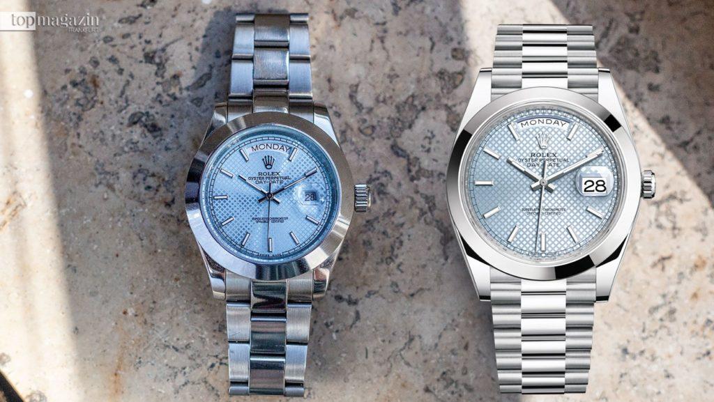Rechts: Die Day-Date von Rolex. Links: Das Plagiat. Hier weichen zum Beispiel die Schriftarten vom Original ab