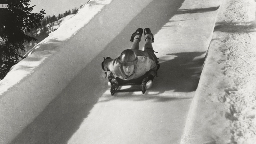 Ein Gefälle von 157 Metern und zehn Kurven warten auf die Cresta-Fahrer. Dieses Bild entstand ca. 1920