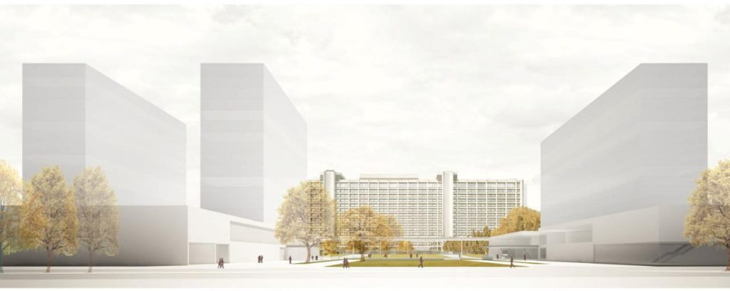 Drei 60-m-Gebäude sollen die Bundesbank-Zentrale ergänzen.