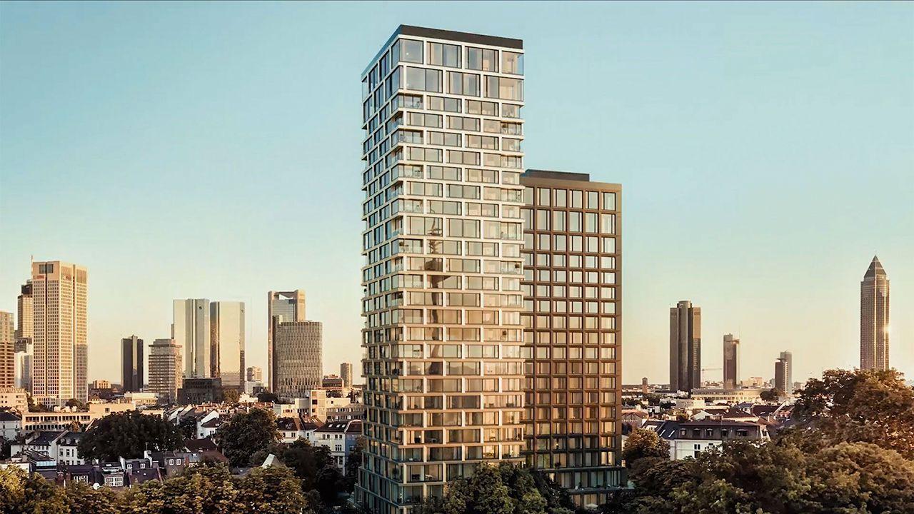 Eigentumswohnungen und eines von zwei Roomers-Hotels in Frankfurt sollen sich zukünftig in den Doppeltürmen ,160 Park View' befinden (Illustration HaP Frankfurt, RFR)