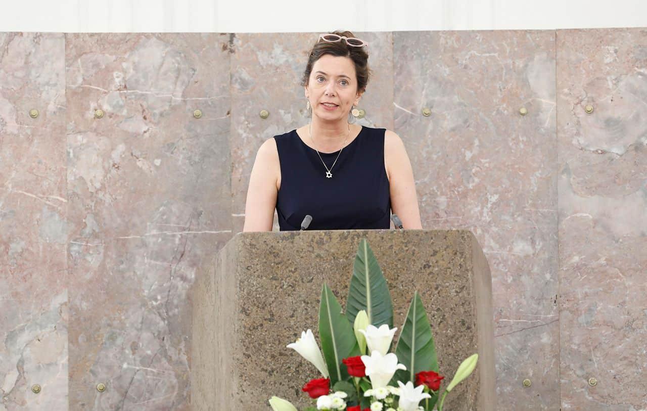 Eva Menasse bedankt sich für den Ludwig-Börne-Preis 2019 (Foto Reuss)