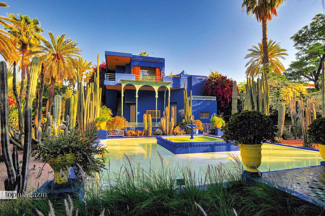 Der Rosengarten des Jardin Majorelle von Yves Saint Laurent ist ein Ruhepol inmitten der hektischen Großstadt Marrakesch. Der von Yves Saint Laurent restaurierte Garten lädt mit dem Spiel aus Pflanzen, Farbe und Materialien zum Entspannen ein.